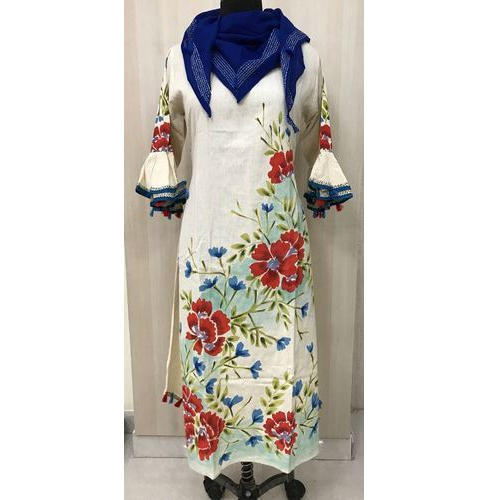 pure-south-flex-cotton-long-kurti-with-bell-sleeves-and-hand-print-cotton-scarf-500x500