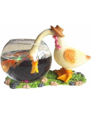 aquarium-round-glass-fish-bowl-betta-home-decoration-synthetic-resin-straw-duck