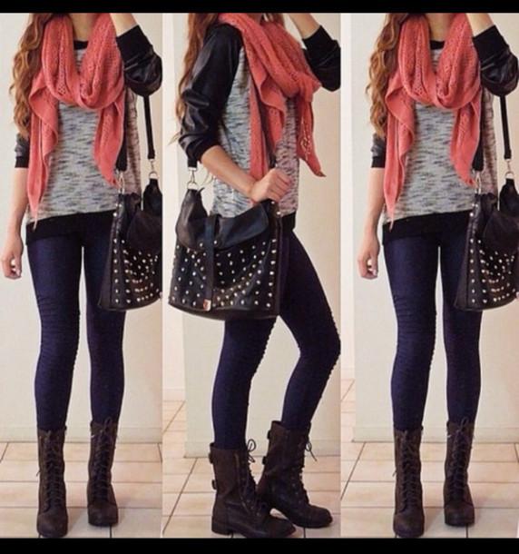 rcbik8-l-610x610-shoes-orange-bag-coat-blouse-scarf-t+shirt-pants-shirt-leggings-outfit-outfits-long+sleeve-boots-jacket-black+bag-rivets-sweater