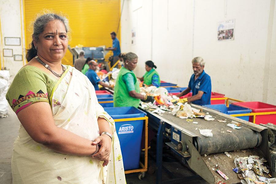 Nalini Shekar, Co-founder Hasiru Dala, at the Hasirua Dala dry waste collection centre in Ward 44. Bengaluru. May 2018. Photograph by Nishant Ratnakar